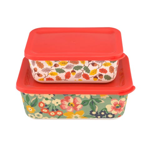 Portland Flowers Set Of 2 Rectangular Lunch Boxes