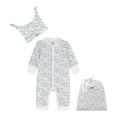 Mews Ditsy Small Footless Sleepsuit Hat and Bag