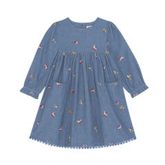 Rollerskates Embroidered Chambray Dress