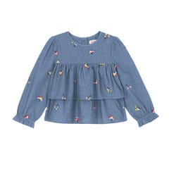Rollerskates Embroidered Chambray Tierred Top