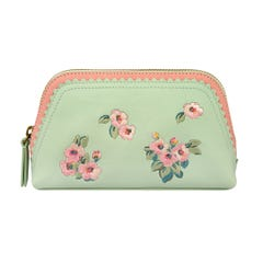 Mayfield Blossom Leather Scalloped Embroidered Make Up Bag
