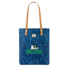 Snoopy Dream Midnight Stars Small Simple Shopper with Leather Handle