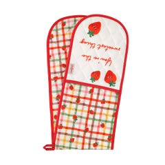Strawberry Gingham Double Oven Glove