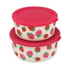 Sweet Strawberry Set Of Two Round Lunch Boxes