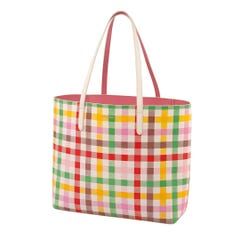 Gingham Check Large PVC Open Tote