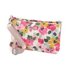 Large Painted Pansies Small Zipped Crossbody