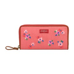 Pansy Twill Premium Embroidered Continental Zip Wallet