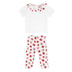 Mini Sweet Strawberry Baby Collar Tshirt and Legging Set
