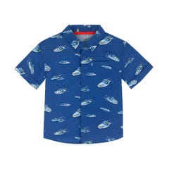 Spaced Summer Boat Kids Short Sleeve Shirt