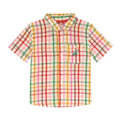 Spaced Strawberry Gingham Kids Short Sleeve Shirt