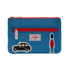 Solid Kids Double Zip Pencil Case with Badges
